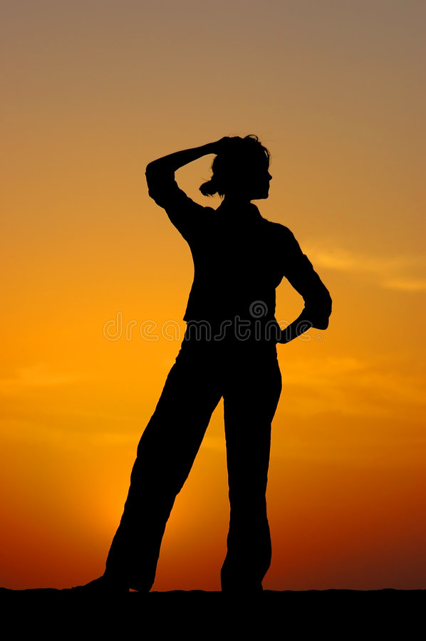 Free Silhouette Of The Girl In Meditations Stock Photography - 1666302