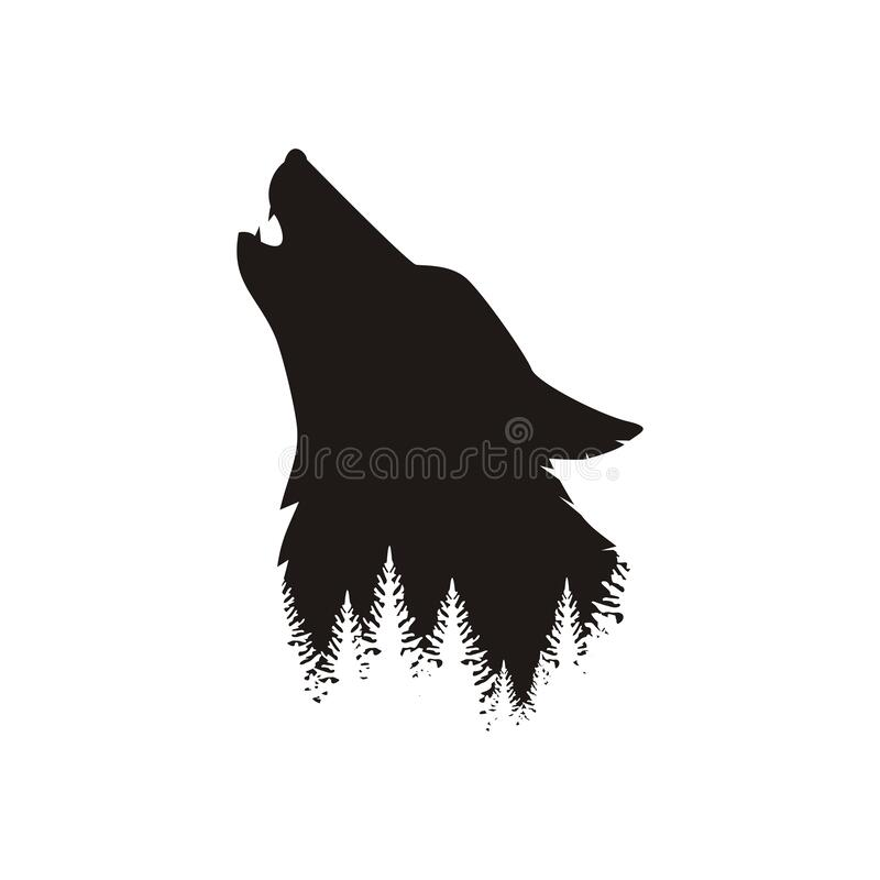 Free Silhouette Of The Head Of A Wild, Lonely, Howling Wolf Stock Photography - 170420662