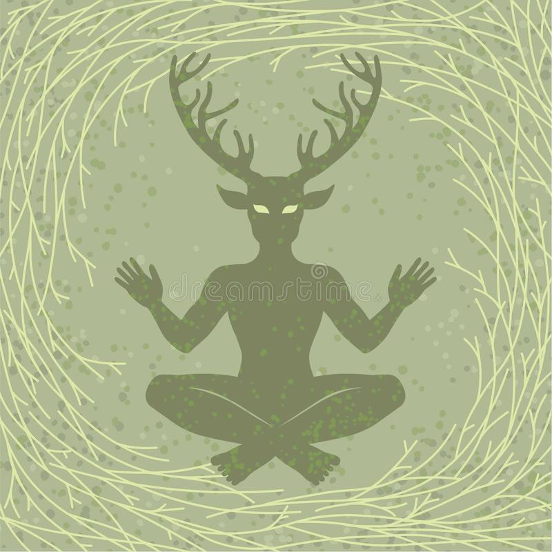 Free Silhouette Of The Sitting Horned God Cernunnos. Mysticism, Esoteric, Paganism, Occultism. Stock Photo - 104069600