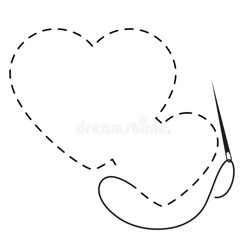 Free Silhouette Of Two Hearts With Interrupted Contour. Hand Made Vector Illustration With Embroidery Thread And Needle Royalty Free Stock Photos - 144168518