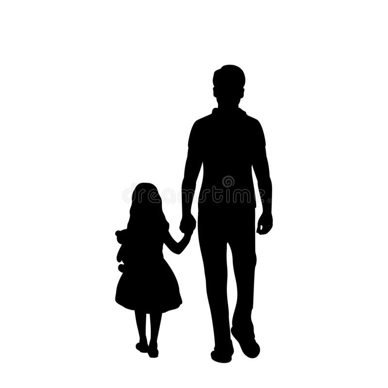 Free Silhouette Of Walking Father With Daughter From Back Stock Image - 201067581