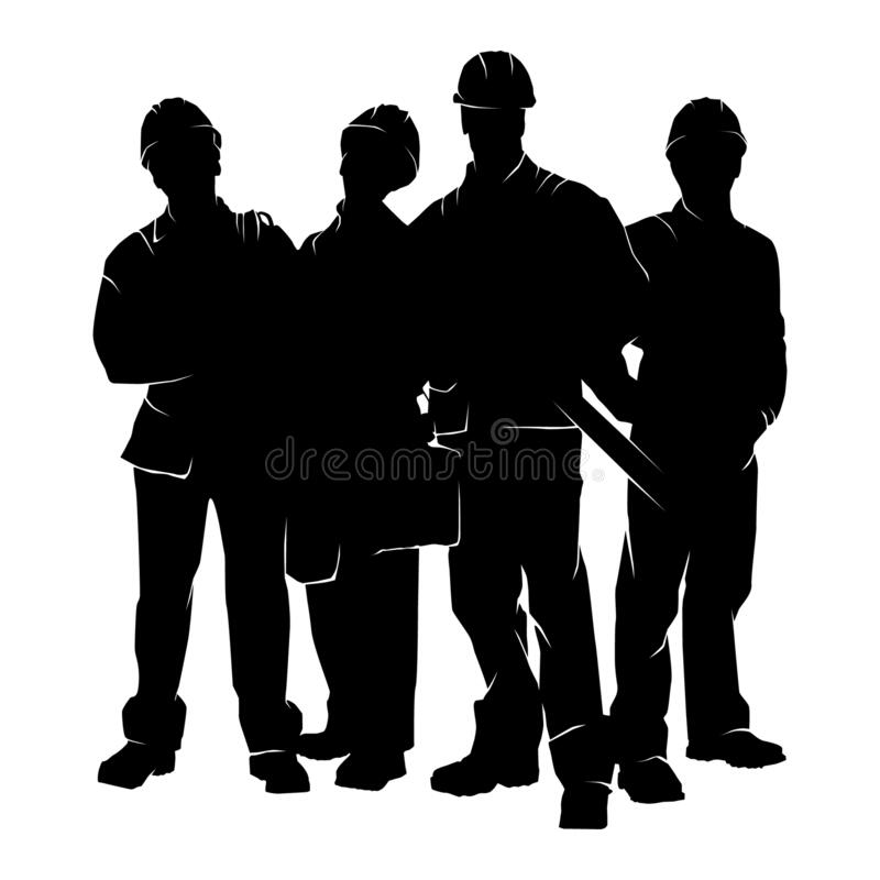Free Silhouette Of Workers Vector Template. Labour Day Element Royalty Free Stock Photography - 210433687