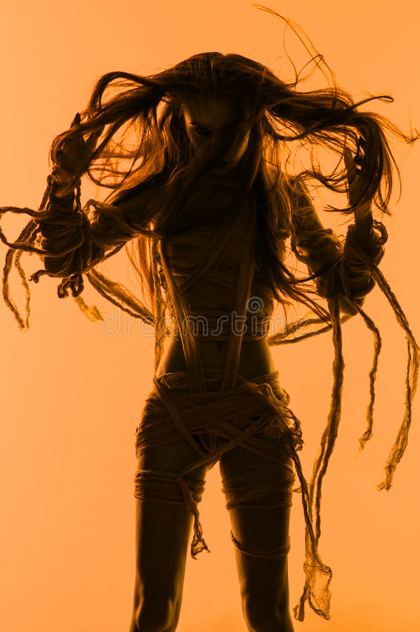 Free Silhouette Of Young Mummy Woman In Bandage Stock Images - 81638274