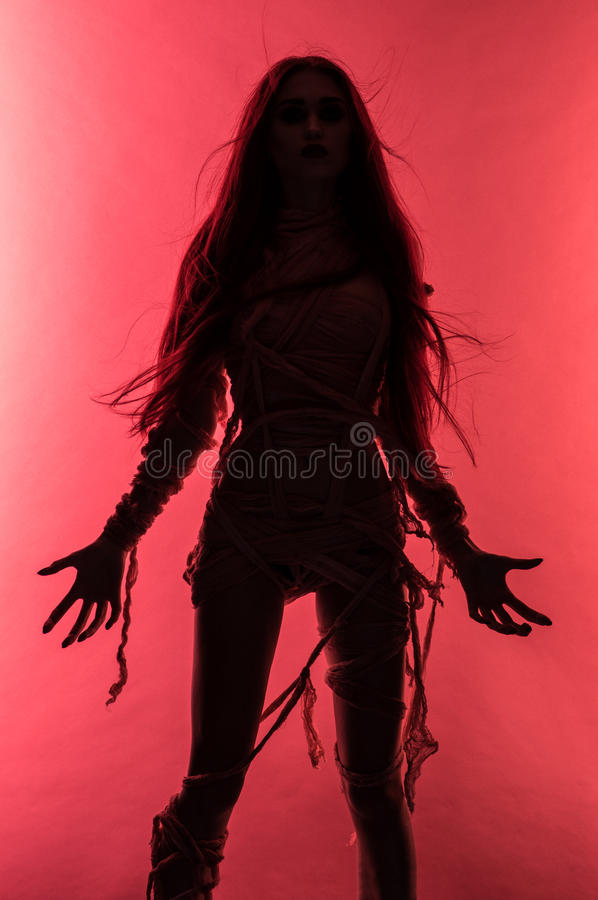 Free Silhouette Of Young Mummy Woman In Bandage Stock Photography - 82000942