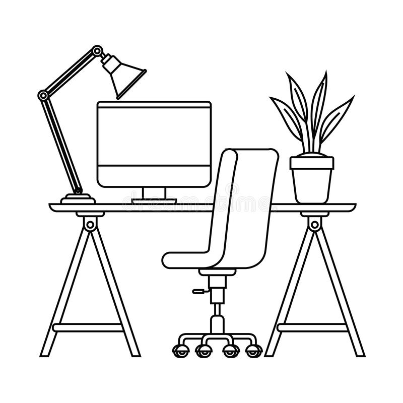 Silhouette Of Office Desk With Chair Icon Stock Vector ...