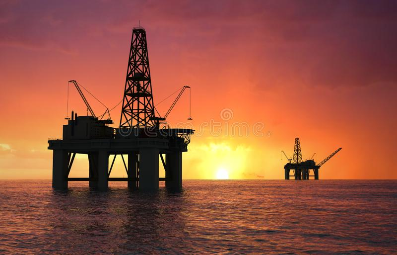 Silhouette oil rig royalty free stock images