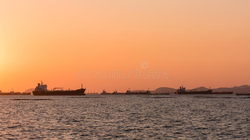Silhouette Oil tanker, Gas tanker royalty free stock images