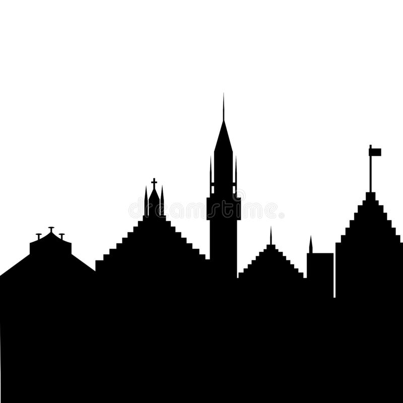 Silhouette of the old city on a white background royalty free stock photo
