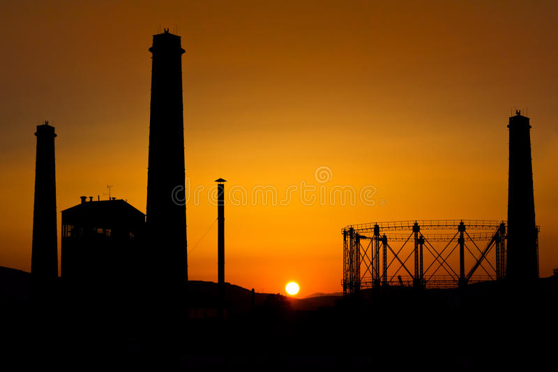 Silhouette of an old industry royalty free stock photography