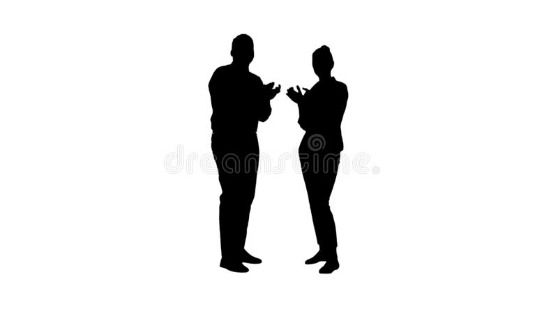 Silhouette One businessman and one businesswoman applauding. royalty free stock photos