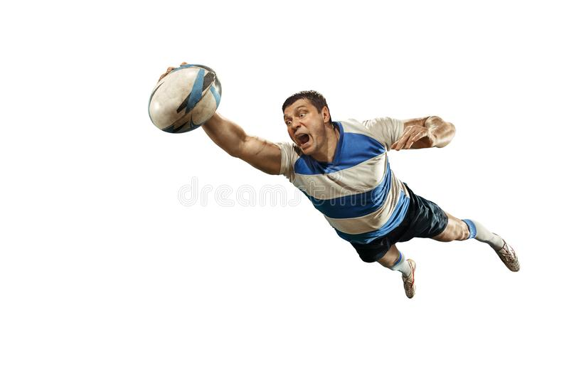 The silhouette of one caucasian rugby man player isolated on white background royalty free stock photos