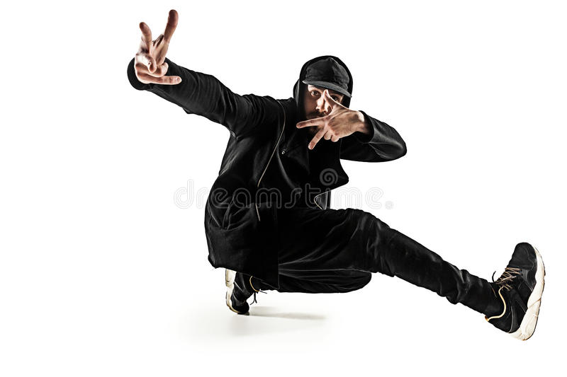 The silhouette of one hip hop male break dancer dancing on white background royalty free stock image