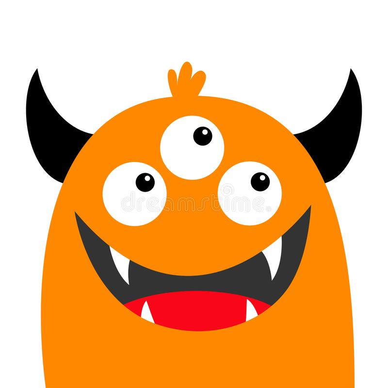 Visage Comique Drole Orange De Monstre De Vecteur Illustration De