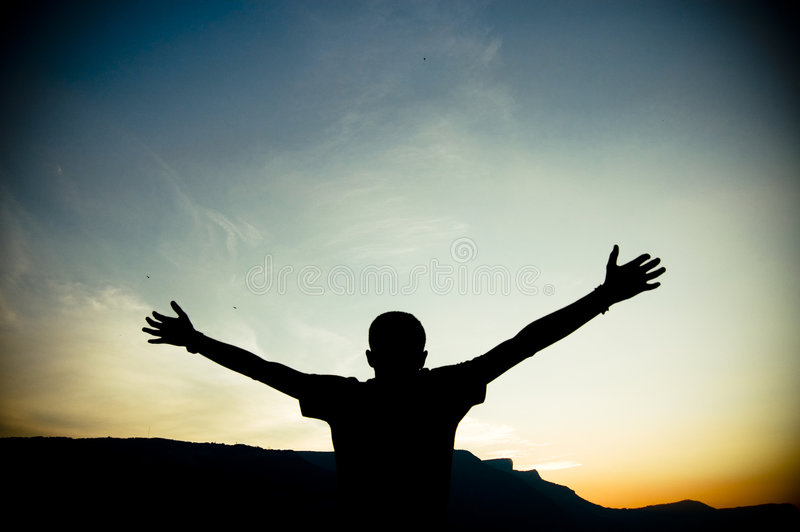 Silhouette of Outstretched Arms stock photos
