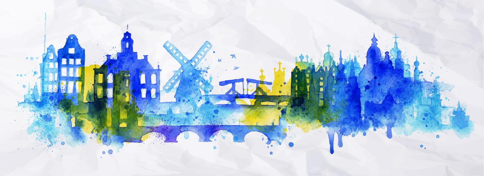 Silhouette overlay city Amsterdam. With splashes of watercolor drops streaks landmarks in blue tones royalty free illustration