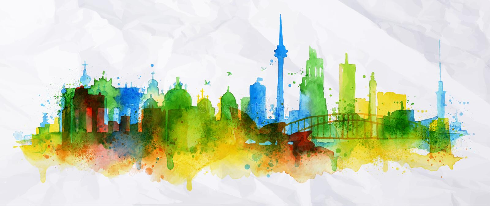 Silhouette overlay city Berlin. With splashes of watercolor drops streaks landmarks in green with blue tones vector illustration
