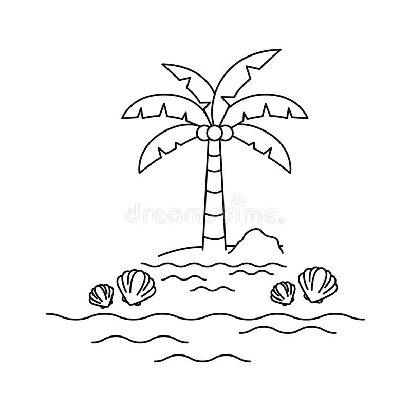 Silhouette of palm tree with coconut in white background. Vector illustration design vector illustration