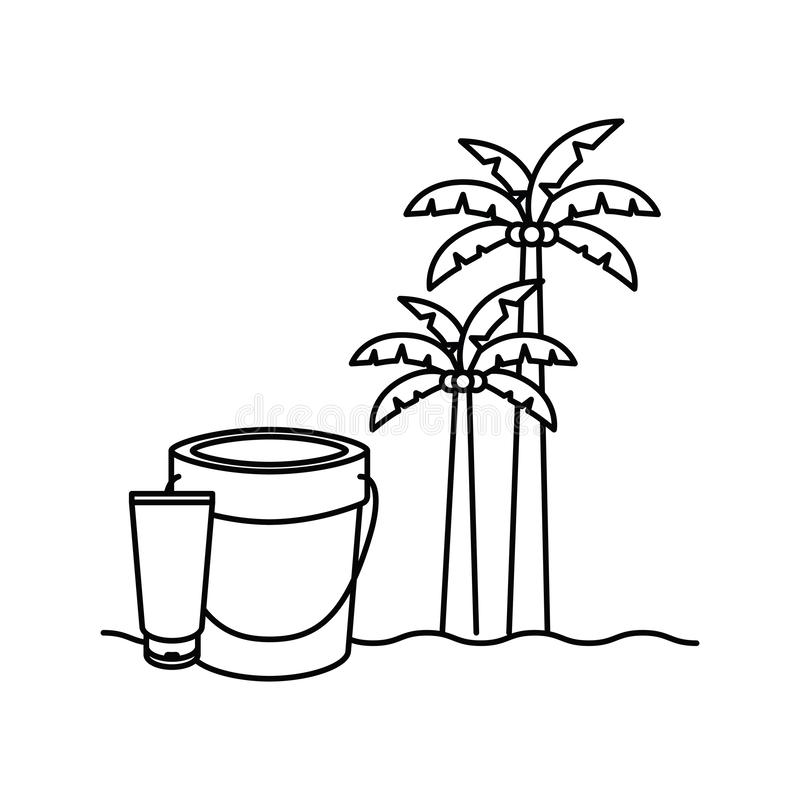 Silhouette of palm tree with coconut in white background. Vector illustration design royalty free illustration