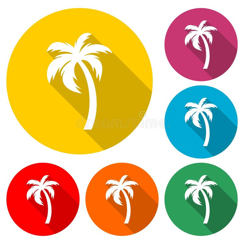 Silhouette palm tree, Palm tree icon or logo, color set with long shadow stock illustration
