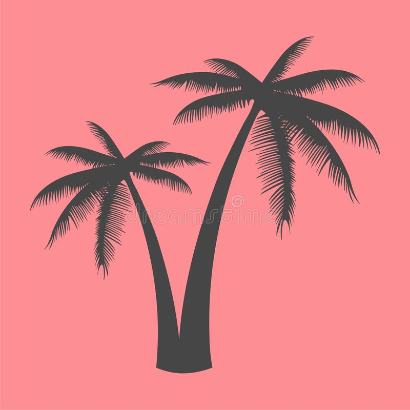 Silhouette palm tree, Palm tree icon on pink vector illustration