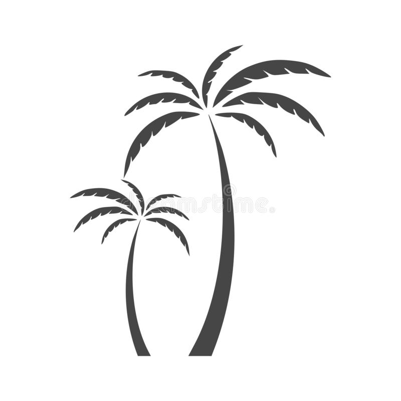 Silhouette palm tree, Palm tree icon on white stock illustration