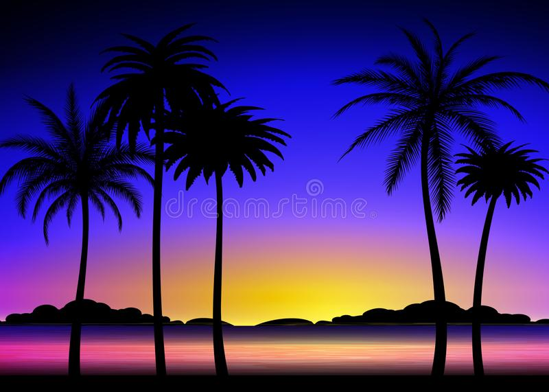 Silhouette of palms on tropical sunset stock illustration