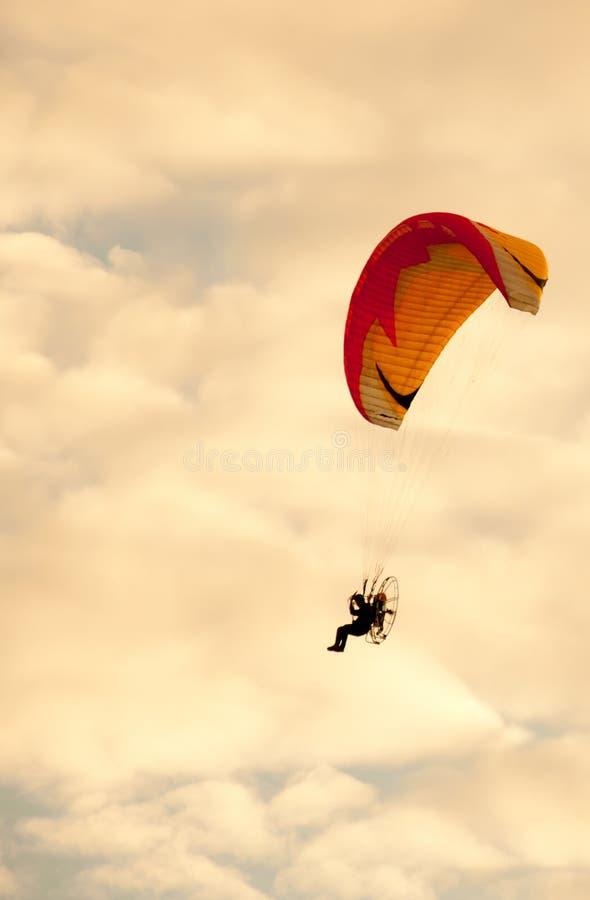 Silhouette Of Para Motor Glider Stock Image