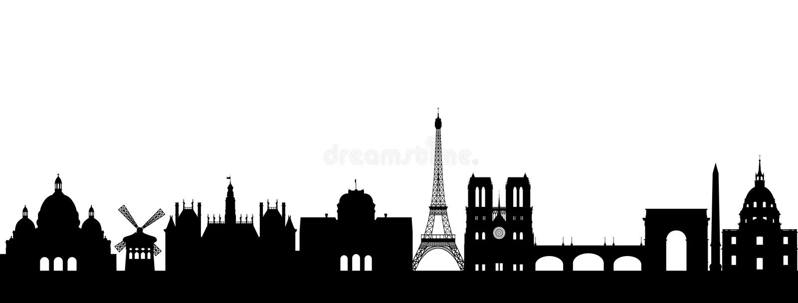 Silhouette Paris abstract. On white