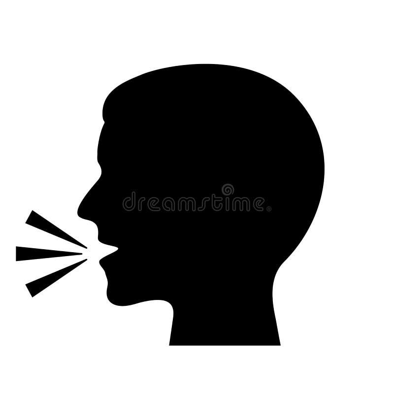 Silhouette parlante de vecteur d'homme illustration libre de droits