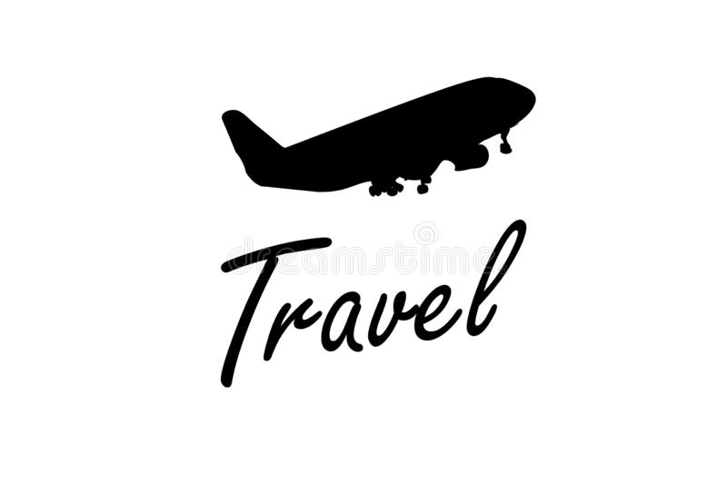 Silhouette of passenger airplane on white background. Illustration design royalty free stock photography