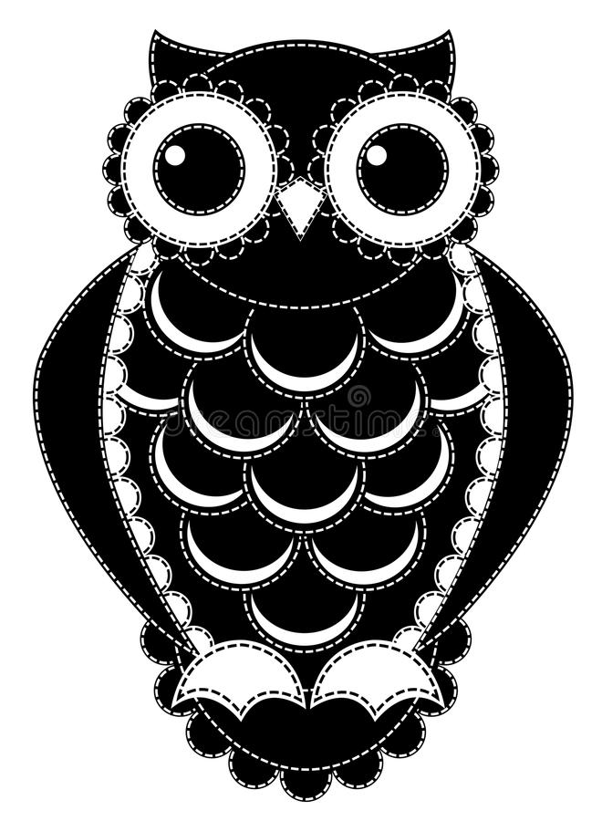 Silhouette patchwork owl. royalty free stock photos