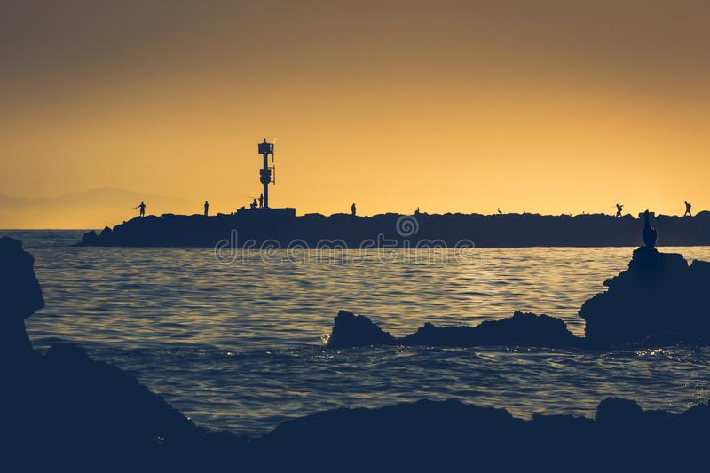 Silhouette of a pelican at Little Corona Beach. Silhouette of pelican posed on a rock formation at sunset from Little Corona Beach, Corona Del Mar, California stock photos
