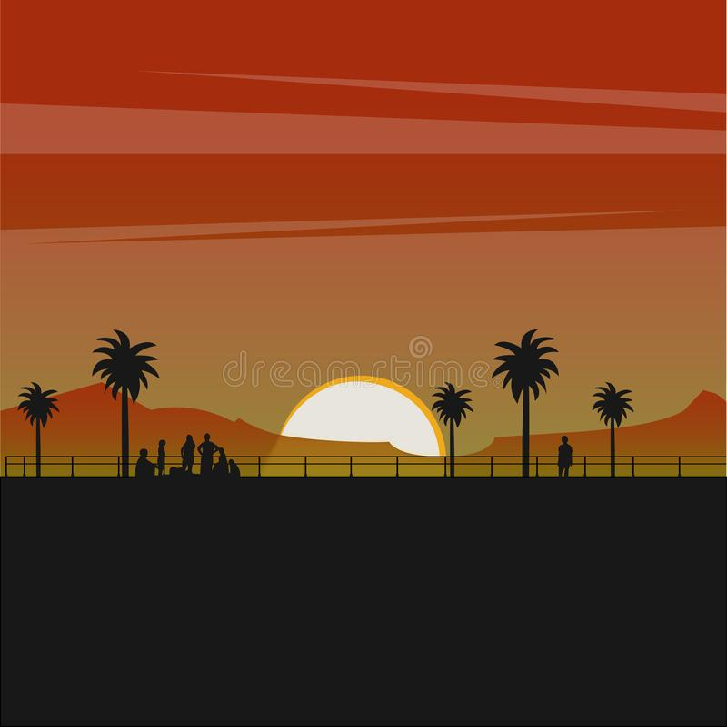 Silhouette of peoele and tree on the beach with a beautiful sunset vector illustration