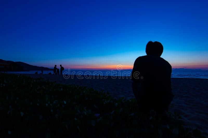 Silhouette people on the beach during sunset. At Kata Noi Beach Phuket Thailand royalty free stock images