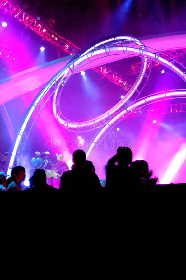 Silhouette people at concert stock photography