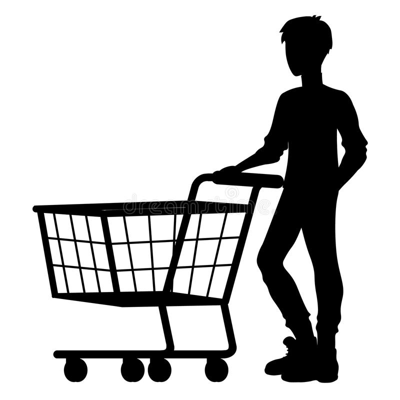 Silhouette people with food basket vector illustration