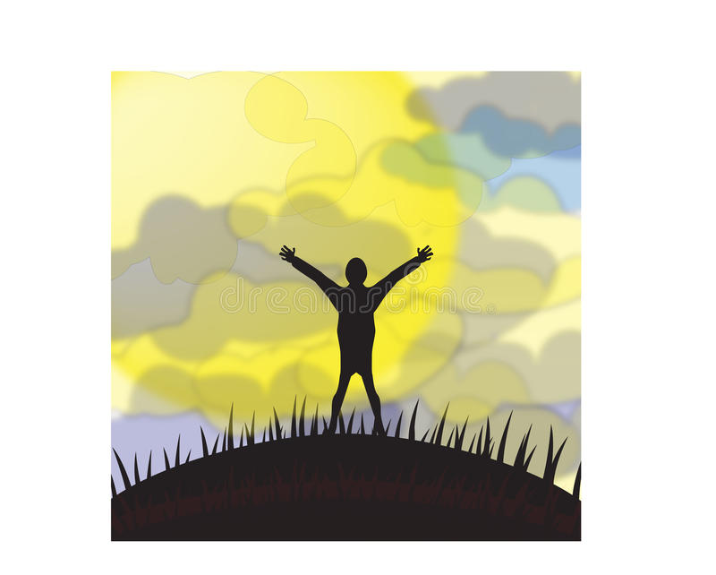 Silhouette people. Silhouette of a man with hands dignati grass and moon sun and clouds vector illustration