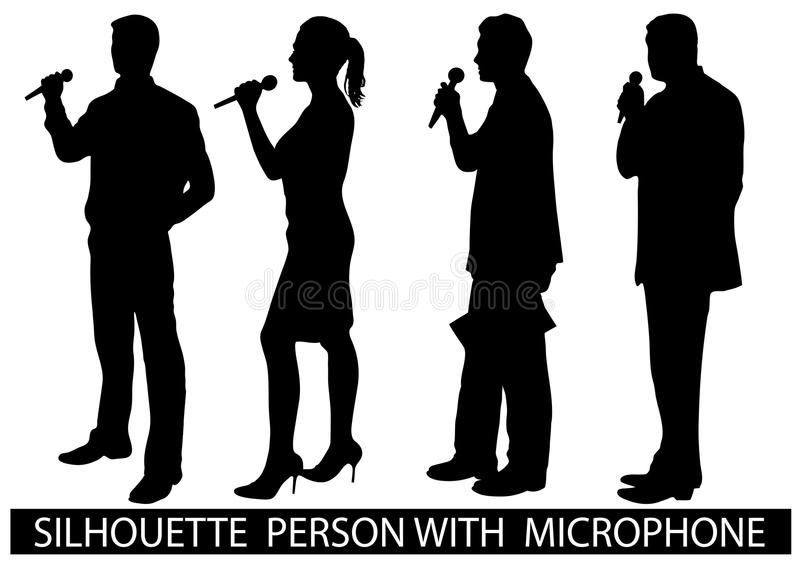 Silhouette people with microphone. On the image are presented a silhouette of people with a microphone stock illustration