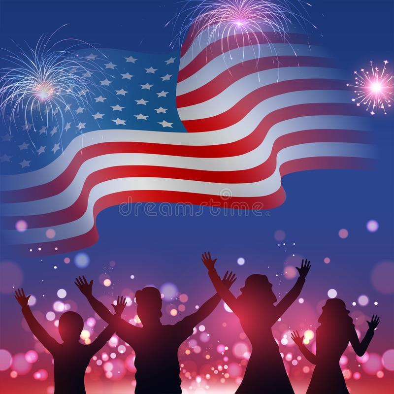 Silhouette of people`s character enjoying on wavy American flag with bokeh fireworks background. vector illustration