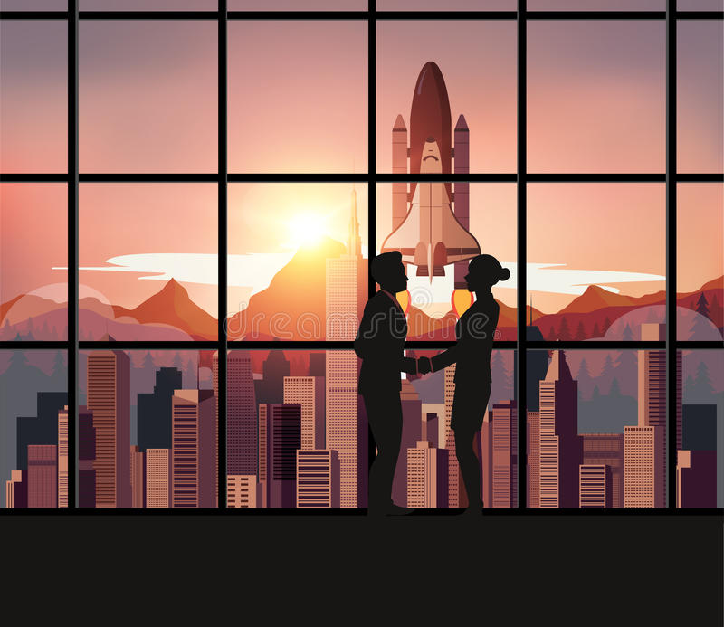 Silhouette people with Space Shuttle vector illustration
