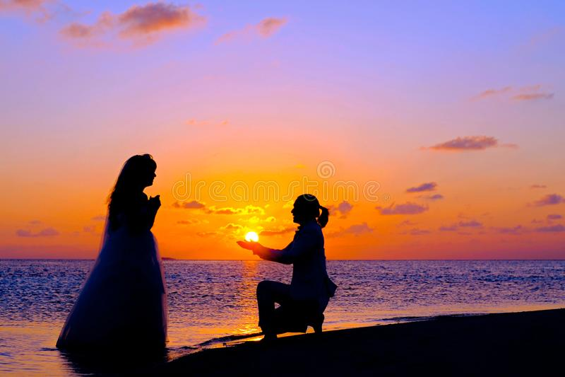 Silhouette of People during Sunset stock photography