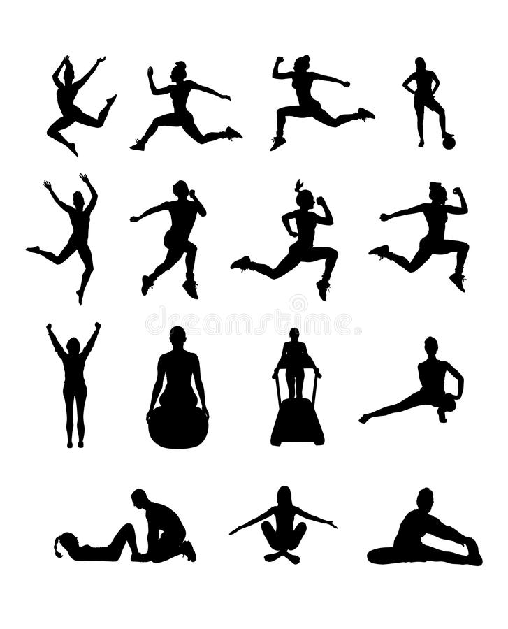 Silhouette of people working out vector. Digitally generated Silhouette of people working out vector royalty free illustration
