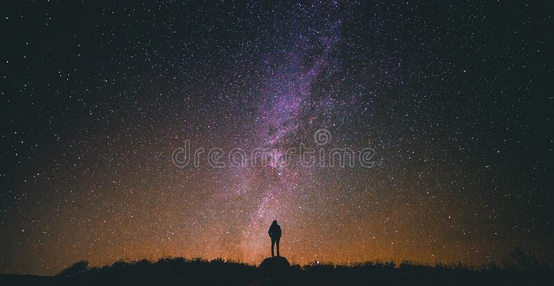 Silhouette Of Person Against Starry Skies Free Public Domain Cc0 Image