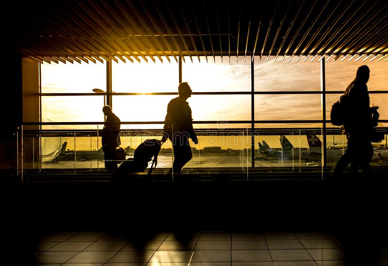 Silhouette of Person in Airport royalty free stock photography
