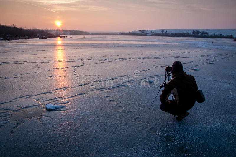 Silhouette Of Person With Camera Tripod Stand Taking Photo Of Sunset Free Public Domain Cc0 Image