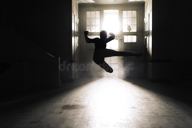 Silhouette Of A Person Flying Kick Inside A Room Free Public Domain Cc0 Image