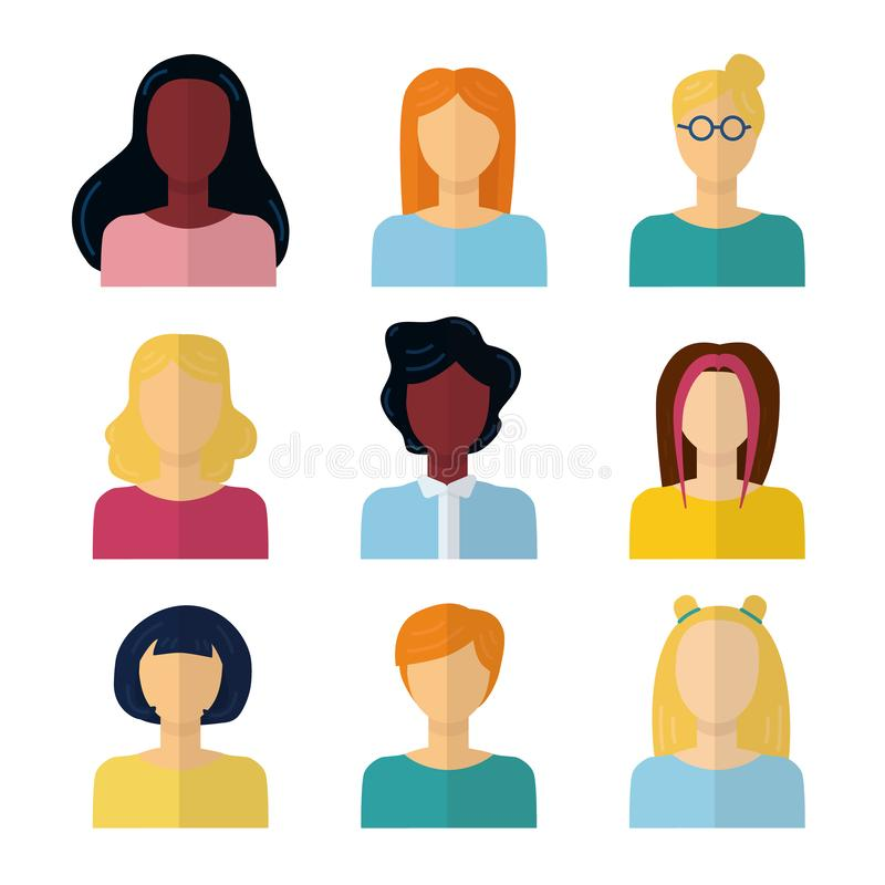 Silhouette person head. People profile avatars, female anonymous faces. Vector user business portraits set royalty free illustration