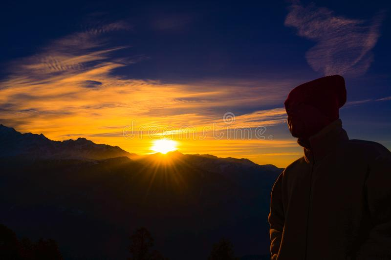 Silhouette of Person Near Mountain during Golden Hour stock photos