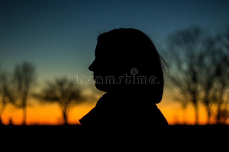 Silhouette of a Person during Sunset royalty free stock photo