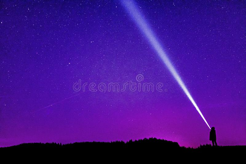 Silhouette of Person Under Blue and Purple Sky stock photography